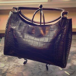 Chocolate Brown leather, croco Talbots handbag